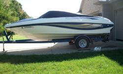 4.3L Mercury. Excellent condition inside and out. No rips or tears -in interior. Never stored in water. Trailer with new tires included. Swim deck with ladder. Also has a custom made canopy. Life- jackets, ski's and tube included. 574-875-1916