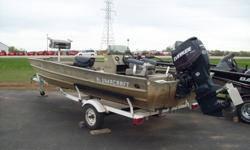 1997 Alumacraft center console jon boat with 75hp Evinrude E-tec and trailer, $7495. Can be viewed at