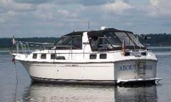 """1985 Carver Riviera. $7500 or will trade for fishing boat or pair of snowmobiles. The convertible top makes a nice sunny day retreat. Spend the night or entire summer living aboard! · Two 305 inboard V-8s, 1100 hours each · Aft cabin · 11'6"""" beam, very"""