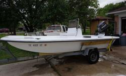 16ft flats/bay boat with tunnell hull. Boat very wide and in great condition. 2000 70hp Johnson motor. Motor in excellent condition. Fishing season is upon us! If you are looking for a shallow water Bay Boat and don't want to spend a lot of money, then