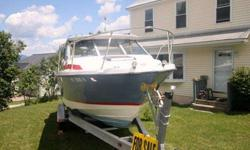 This boat is with second owner and has new decking paint job, and has been on Lake Champlain and Lake Ontario for the past 5 yrs. It has a volvo penta duo prop outdrive and a 350 v8 chevrolet engine. The motor has been completely rebuilt in 2011 and only