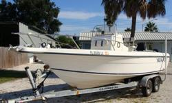 Bimini, Windlass, large center console for porta potti, livewell, fishboxes, 2008 Continental trailer. This price is for the boat and trailer only and is fully rigged for a Mercury--The engine is bad.