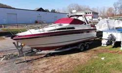 $7,995, YAMAHA OUTBOARD 4 STROKE 115HP ENGINE W/HYDRAULIC STEERING, 1992 SHORELAND'R DUAL-AXLE GALVANIZED BUNK TRAILER W/BRAKE ON 1 AXLE, BIMINI TOP, NO PAPERWORK ON TRAILER, 1 owner, INDOOR WINTER STORED, ONLY PRE-OWNED IN FRESHWATER, RATED FOR thirteen