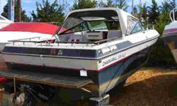 Has newer engine 30hrs, 5-7L, ski tow, head, power trim, bimini top, teak wood Stock ID