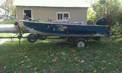 14 feet. star alum. semi-V boat with strong 35 HORSEPOWER Evinrude. comes equipt with new floor and carpet three fixed seats and 1 Pedestal seat humming bird fish locator bilge pump and extras clear titles on boat motor and trailer great boat for the