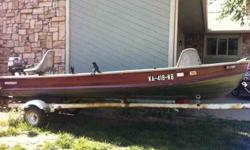 17 ft Starcraft semi v aluminum boat with 15 horsepower mariner short shaft for sale. email or text to see