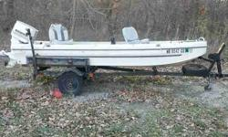 1975 tub style 14 feet bass boat. 1974 Chrysler 30hp motor. Boat has been sitting untarpped since early summer 2011. Has been winterized. The boat does not leak, transom is in terrific condition and the motor works great. Just don't have the time to enjoy
