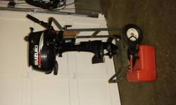 2009 6HP, four stroke, oil injected, less than 25 hours on engine, has one gallon integrated gas tank (never used) with three gallon portable and gas hose, has installed hydrofoil, comes with engine stand/cart! Besides minor scratches, unit LIKE NEW! Paid