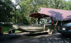 This is a 1990 model eighteen feet. all-welded aluminum Riverboat built by F F Boat Company. It has a eight feet. beam with a 2007 90 HORSEPOWER Nissan Direct Fuel Injected outboard engine with stainless steel propeller with extra propeller, a 54 pound