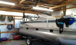 For sale is a 2002 Fisher 180 Freedom Fish pontoon boat with a 2002 Mercury 40 horsepower motor and Rolco trailer. This boat is in terrific condition and has no dents or dings in the logs. The carpet and upholstery are in superb condition,we had the rear