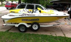 Great condition, runs perfectAlways stored indoorsNew 12/15 Skat Trak Impeller and wear ringPerformance aqua grate2 brand new 250w Polk marine speakers155 horse 4 stroke engine23 gallon tank (premium gas always used)Tons of storage spaceIncludes trailer,