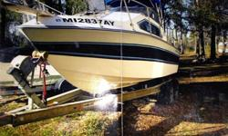 26' ChaperelleSleeps 6350 Chevy marine motorBathroom/ShowerFull small kitchenRebuilt outdrive with about 30min run timeInterior is mostly Teak wood Comes with everything seen in picture. For any further questions please contact me.