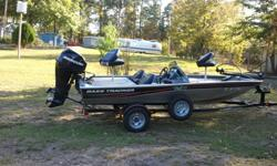 Excellent condition, very low hours,motorguide trolling motor, Lowrance depth finder,40 HP 4 stroke EFI Mercury motor with stainless steel prop.On board charger. Boat has been kept in boat house and covered building full time. trailer has less than 300