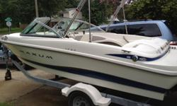 Maxum bowrider in excellent condition. Great for a first boat or for someone who is looking for an inexpensive boat with all the toys for wakeboarding or tubing. Includes trailer, two tubes, two wakeboards, Garmin Fish/Depth finder, extra prop, tow lines,