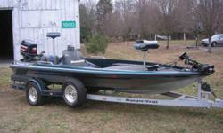 18' Ranger Bass Boat With 150 HORSEPOWER Evinrude Motor, Evinrude 24 VOLT Trolling engine, X15 Lowrance Fish Finder With GPS, Ranger Custom Cover, New Goodyear Marathon Radial Tires, Stainless Steel four Blade Shooter Propeller, Removable Trailer Tongue,