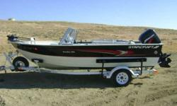 2000 Starcraft Starfire 170 boat. Dual console walk-thru windshield. 125 HORSEPOWER Mercury outboard, works great, low hours. Minn Kota Auto pilot bow mount trolling engine. Hummingbird depth/fish finder. two large livewells, on board charger, rod