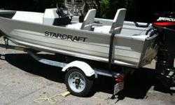 Purchased brand new in July 2010 and pre-owned less than twelve times. The boat is mint and has been garaged and well maintained. Live bait well, two new white vinyl seat, two original plastic seats, anchor, 250 of rope, two bumpers, 12 v battery, five