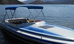 CARIBBEAN BY HARDIN MARINE power boat with cover and bimini top, AND TRAILER.. RUN TIME 641 HOUR, 8 FT WIDE, 22 FT LONG, 2 AXEL TRAILER( NEW TIRES )..ENGINE