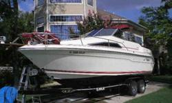 1989 SeaRay DA Sundancer with a forward sleeping v berth and a rear sleeping aft berth. Galley with sink, stove and refrig. Toilet, lab and shower. 30 amp shore power, spot light, 2 battery banks, carry on air conditioning, almost new tandem trailer and