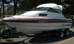 Sought after I/O Cuddy cabin. Includes kicker bracket and great Honda 4-stroke 9.9 HP kicker. 5.0 Litre w/ OMC drive. Includes trailer. Call 503-933-4484