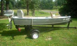 Aluminum 12 ft. V-Bottom Grumman boat, has a 7.5 hp Scott Atwater 2 cycle motor. Runs good, new spark plugs, plus replacment spark plugs. Boat has 2 swivel bass seats, a 5 gallon gas fuel cell, and has 5 fishing pole mounts. Exterior has new paint, all