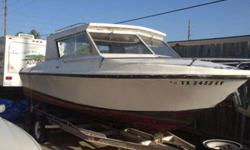 This is a good deal for the right person. A somewhat nice boat. Does have a v8 volvo in it might need to be rebuilt. The inside will have to be redone seats, pull carpet, and some other things.The paint is faded and u might need to repaint it. The body is