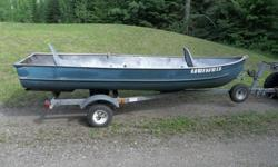 14? Meyers Aluminum boat with Continental trailer. The boat has stretch formed aluminum sides that are welded together at the bottom. Welding the bottom seam allows the keels and cross braces to be riveted on without the rubber gasket that can deteriorate