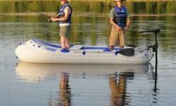 Sea Eagle $975 This lightweight affordable, inflatable fishing boat is super stable, easy to row and works great with small gas or electric motors. Standard Features