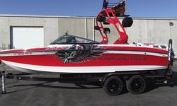 2011 SUPER AIR NAUTIQUE 230 TEAM INCLUDES-TOWER, TOWER SPEAKERS W/COVERS, TOWER COMBO RACKS W/COVERS, BIMINI, SNAP-ON BOW AND COCKPIT COVERS, DOCKING LIGHTS, UNDER WATER LIGHTS, BOW FILLER CUSHION, NAUTIQUE LINC SYSTEM W/ZERO OFF CRUISE CONTROL AND