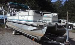 1998 Suncruiser Trinadad 22' pontoon boat powered by a great running Johnson 90hp outboard motor. Solid floor, good carpet, good seats, bimini top, am/fm radio, cd player, sunpad; the trailer is in good condition and included with a spare tire.