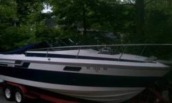 2nd Owner, 26' with cuddy, twin 4.3 V6 merccruiser - approxiamately 250 hours on the motors, galley and head, new interior, pioneer marine radio, very clean. Serious inquires only. Comes with a 30' tadom axle eagle trailer with brand new goodyear tires.