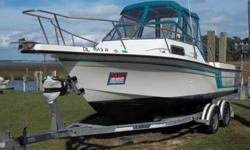 EXCELLENT CONDITION- 1993 FISHHAWK 23'WALKROUND WITH 2003 MERC CRUISER MOTOR (5.7) (319 HOURS) AND ALPHA I OUTDRIVE, FRESH WATER COOLED, 116 GALLON FUEL TANK, NEW CANVAS, BOLSTERS (2010), AND ALL NEW PUMPS- 1993 DUAL AXLE TRAILER (NEW TIRES 2009-NEW