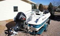 2000 Larson SEI 186 Fish & Ski with a 1998 Fuel & Oil Injected two stroke Johnson 150. Motor has Stainless Steel propeller with 2 spare different pitch props. Matching color, custom, single axle trailer. Trailer has bearring buddies, new winch strap and