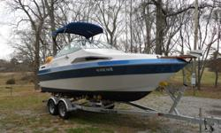 This is a Very Very good 22ft boat. It sleeps 4 people. Has flatscreen t.v. mounted on wall. Has sink, stove, bathroom. Storage under beds and in cabinetry. Fresh water tank. Depth finder, c.d player with excellent speakers, can also hook up an ipod to
