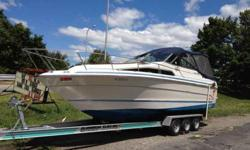 Check out this extremely clean 1988 Sea Ray Sundancer. With only 600 hours this boat was stored for five years and fired right up. This boat has a brand new synthetic oil change, prop, completely rebuilt leg, plugs wires cap and rotor. Full enclosure with