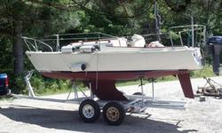Refurbished 1968 Pearson 22 with trailer so you can sail where you want. Restored