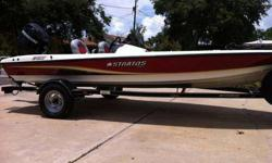 2007 STRATOS BOAT WITH 2007 TRAILER AND 2007 60HP MERCURY FOUR-STROKE. ENGINE HAS TRANSFERABLE WARRANTY TILL DECEMBER OF 2013. HAS PLENTY STORAGE AND ROD BOX HOLDS 9 RODS. EVERYTHING WORKS AND HAS BEEN GARAGE KEPT. I HAVE PUT ABOUT TEN HOURS ON IT IN THE