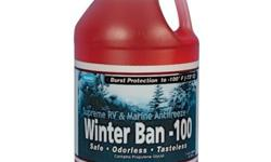 amco Winter Ban is a pink potable water safe antifreeze rated to -100F undiluted. Winter Ban protects boat and RV potable water systems from freeze damage plus additives to inhibit fouling, corrosion, algal growth. The freshwater safe propylene glycol