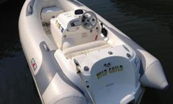 This is a 63hp Avon Inflatable jet RIB. It runs very well (and fast!) It is powered by a Yamaha engine and water jet. Can be very easily beached. Makes a great tender.It is an early 2000's model but is in great shape. Was kept in a larger boats garage so