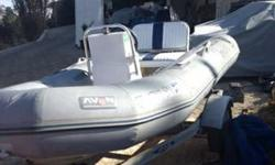 Dingy w/ 25 HP two stroke eng - $2499 (agoura hills)1997 Avon Inflatable with center wheel. 11-feet long, with 2-stroke 25 HP Mercury engine, strong enough to pull wake boarder, great shape, new battery, new steering cable, oars, cargo container, air