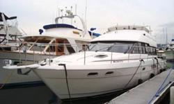 Very spacious, open living area with the main salon, galley and helm all on the same level and surrounded by glass on all sides for a very large, bright and open cabin (new cushions and carpeting). The finish and design is typical of European yachts with