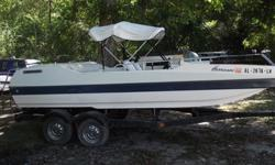 For sale1987 Hurricane deck boat with canopy (Bimini). Fiberglass boat,River/lake ready to go, Trailer included 19ft in length. V/6 205 inboard/outboard motor, plenty of storage space for life jackets, tubes, and skis, holds 12 people or up to 1650 lbs