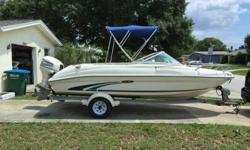 I am currently selling my 1999 Searay with trailer. I have had the boat for the last 5 years and it has treated me well. I replaced the outboard in 2012 with a used 1999 Evinrude 115 FICHT engine. It is fuel injected and starts up on first crank.