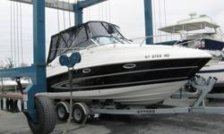 2008 Glastron 259 with trailer. Mint Condition. Volvo-Penta 5.0 V8 270 hp Engine, Only 230 hours. Stainless steel prop, Camper canvas with bimini top. Aft Cabin, V Berth converts to sleeping/dining. Filler cushion converts to sun lounger. Fridge, stove,