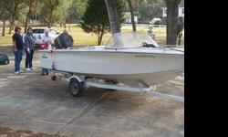 """15' 7"""" Gorgeous Classic model. Bimini top also included. VERY good condition! Storage rails, new carpet, ñew gas tank, battery. New marine radio and speakers. Ready to hit the water now! Comes with trailer that has been completely redone. Clean title."""