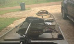 it's a 14 ft flat bottom boat it's got new everything on the trailer and boat it's got a 53 thrust trolling motor and two swivel seats and new tires and rims and new bearings in the axel new lights on the trailer and a coca cola bottle opener made on the