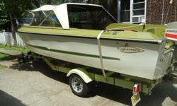1971 2nd Owner Larson, All American Run About in Excellent Condition, 17 ft, with 100 HP Evinrude Outboard. Garage/indoor storage kept in winter, winterized and serviced at marina. Electric start, built in gas tank, depth meter, compass, life jackets,