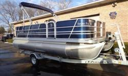 2014 Sport Fish 180 pontoon boat. Blue Panels, full sand colored vinyl floor, sand dollar vinyl with diamante blue accents, full vinyl floor, full boat cover, bimini top & boot cover, pre rigged for a Mercury motor.Upgrade options included: full vinyl
