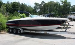 Just in!! Not even washed yet in the pics below. This is a gorgeous, HUGE, 2004 Chris Craft 28 Launch. The boat is LOADED to the gills with killer cool options. It comes with a giant bimini top, chrome double trucker's horns, massive open bow with real