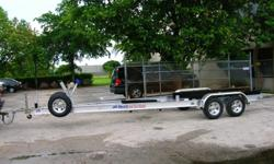 We manufacture custom aluminum boat trailers from 15' to 50',all stainless steel hardware,torsion axle suspension floaton bunks,guide poles,Led lights,SS or Cadmium disc. brakes available all models.For Info
